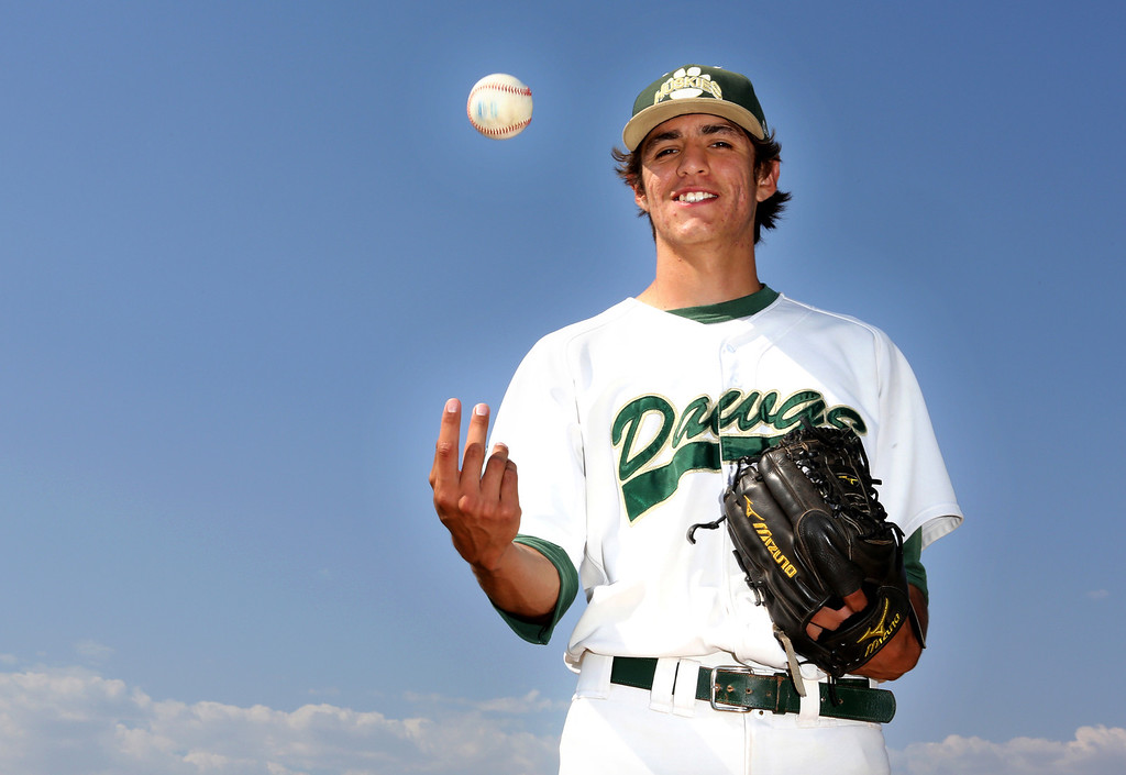 Description of . Tribune Baseball Player of the Year, Adrian De Horta, is graduating from South Hills High School in West Covina, where he is a pitcher.  He plans to play baseball for Cal State Fullerton in the fall.  (Photo by Nancy Newman / SGVN Correspondent / NancyNB@earthlink.net )