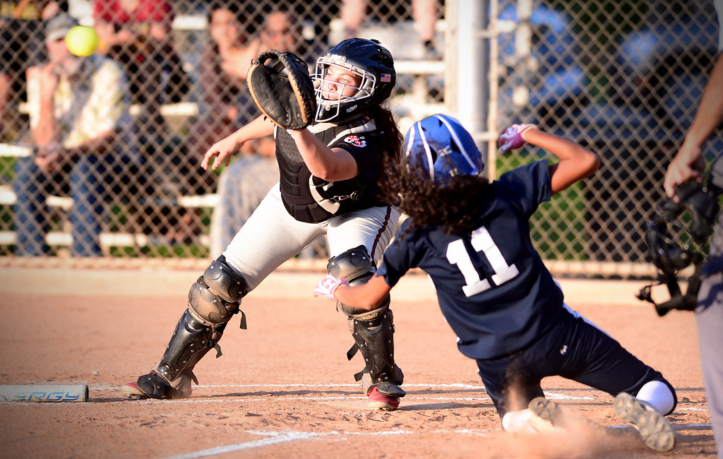 Description of . West SGV softball all-star game is held Wednesday night, June 11, 2014 at Live Oak Park in Temple City. (Photo by Sarah Reingewirtz/Pasadena Star-News)