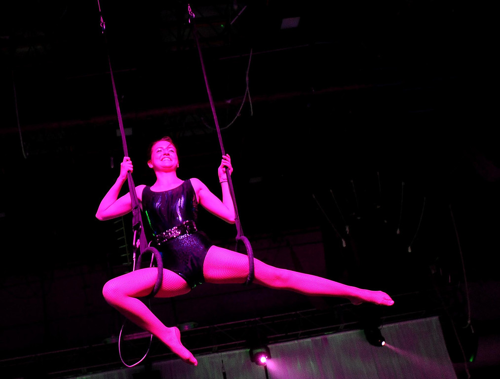 Description of . A girl performs on the rings during the Great Y Circus in Redlands May 3, 2013.  GABRIEL LUIS ACOSTA/STAFF PHOTOGRAPHER.