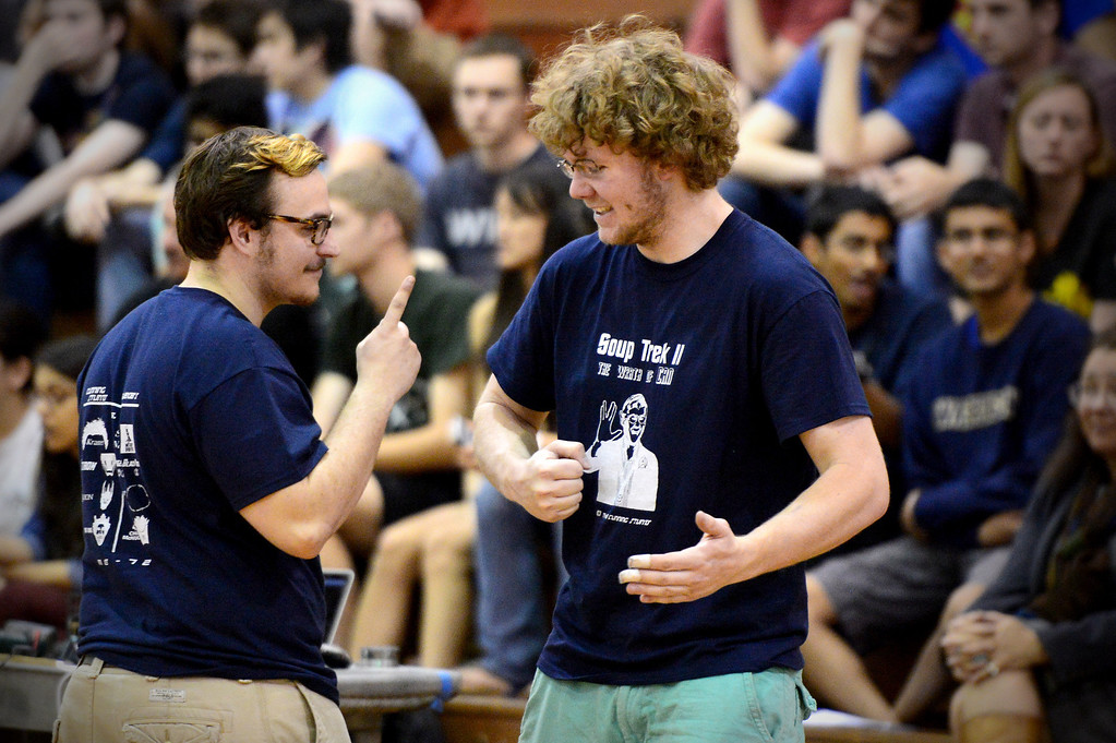 Description of . The Cunning Stunts Harrison Miller and Joseph Greef share a moment before a round as mechanical engineering Caltech students compete in the annual ME72 Engineering Design Contest at the Pasadena campus Tuesday, March 11, 2014. The goal in