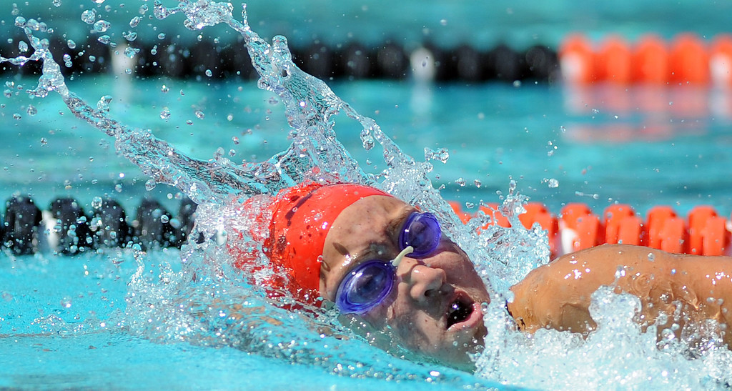 Description of . Glendora's Catherine Sanchez wins the consolation final in the 200 yard freestyle during the CIF-SS Division II swim finals at Riverside City College on Saturday, May 11, 2013 in Riverside, Calif.  (Keith Birmingham Pasadena Star-News)