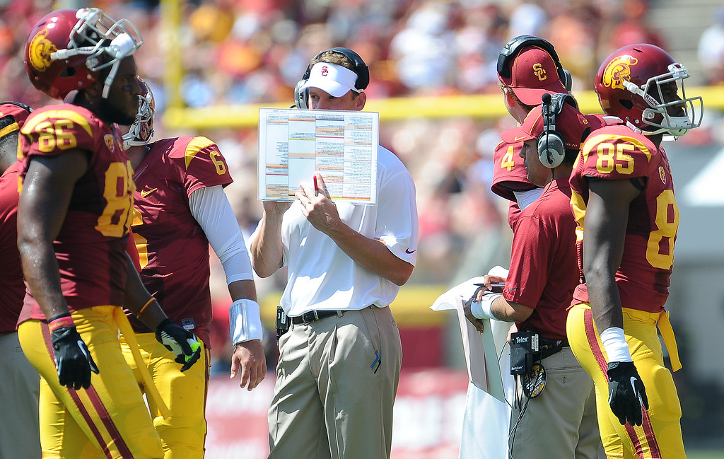 Description of . Southern California head coach Lane Kiffin  during a time-out against Boston College during the first half of an NCAA college football game in the Los Angeles Memorial Coliseum in Los Angeles, on Saturday, Sept. 14, 2013.