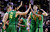 Oregon players celebrate on the court during the second half of a second-round game in the NCAA college basketball tournament against Oklahoma State in San Jose, Calif., Thursday, March 21, 2013. Oregon won 68-55. (AP Photo/Ben Margot)