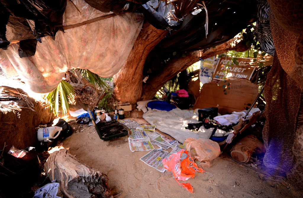 Description of . A view of a  homeless camp reveals living quarters along the I-210 freeway in San Bernardino August 14, 2013. GABREL LUIS ACOSTA/STAFF PHOTOGRAPHER.
