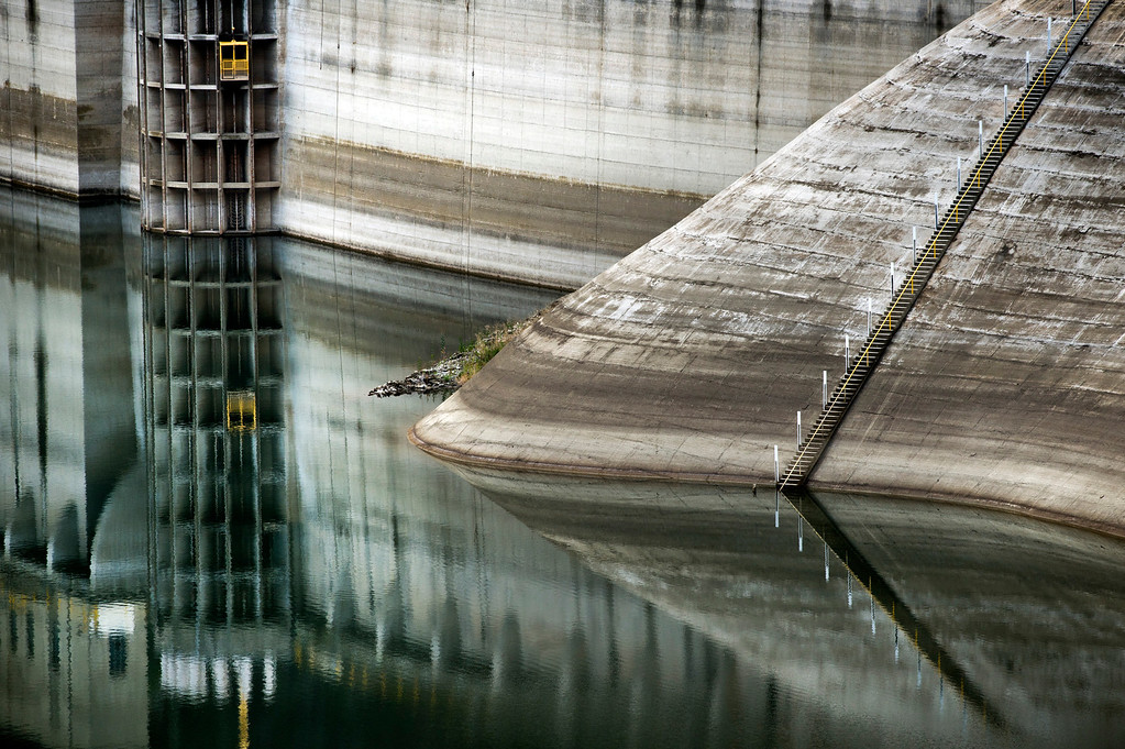 Description of . Rings around Morris Dam in the Angeles National Forest  show the declining water level from past years in the on Friday, Feb. 7, 2014.  Southern California is in the third year of drought. (Photo by Watchara Phomicinda/ San Gabriel Valley Tribune)