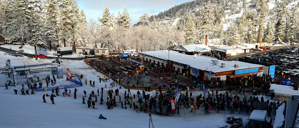Description of . Snowboarders and skiers jammed Mountain High West Resort on Sunday, Nov. 24, 2013, in Wrightwood. Mountain High is the first resort to open in Southern California for the 2013-14 season. LaFonzo Carter/The Sun