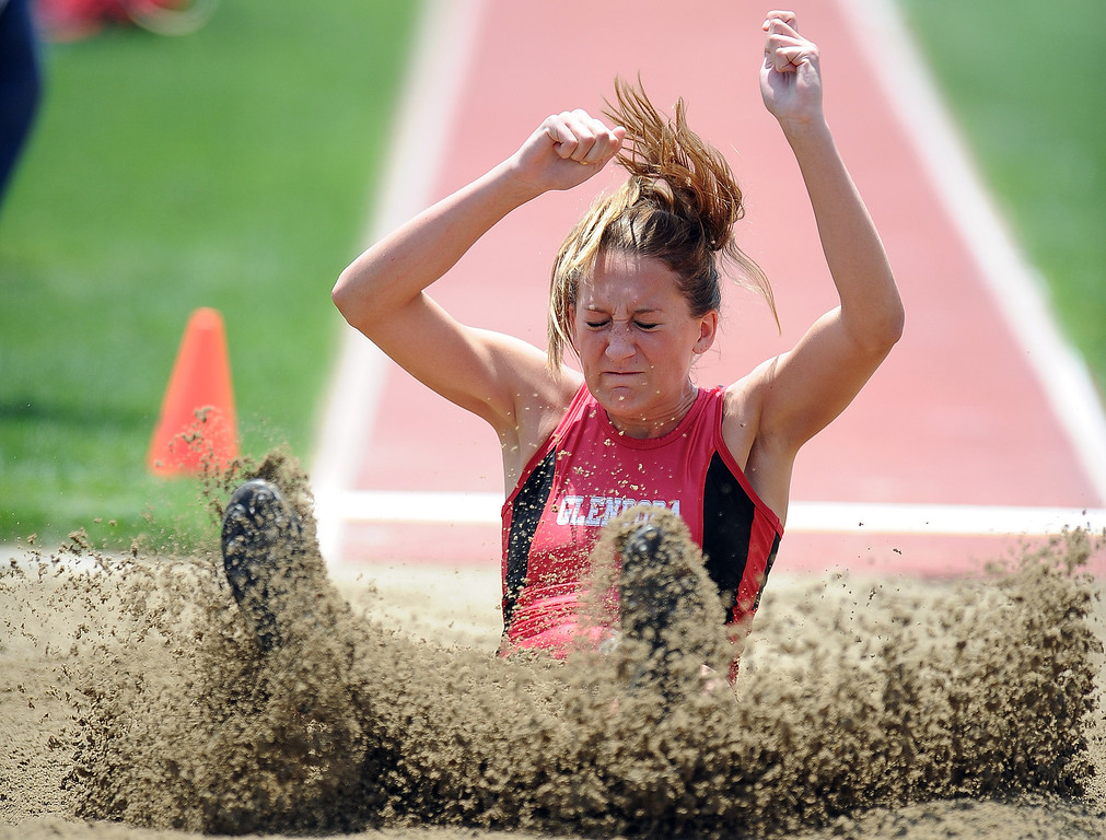 Description of . Glendora's Sydney Pink in the long jump during the CIF-SS track & Field championship finals in Hilmer Stadium on the campus of Mt. San Antonio College on Saturday, May 18, 2013 in Walnut, Calif.  (Keith Birmingham Pasadena Star-News)
