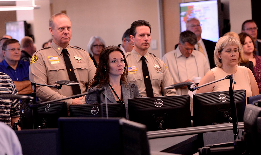 Description of . Members of the San Bernardino County Sheriff's Department attend the dedication ceremony at the High Desert Public Safety Operations Center in Hesperia May 10, 2013.    GABRIEL LUIS ACOSTA/STAFF PHOTOGRAPHER.