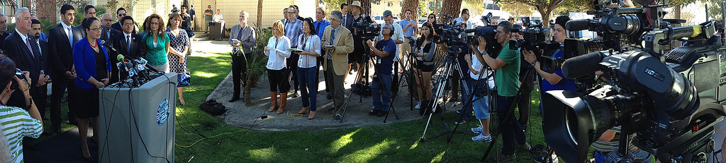Description of . Assembly member Cristina Garcia (D-Bell Gardens) speaks during a press conference with concerned regional elected officials calling for Senator Ron Calderon to resign his position in the California State Senate in front of the Bell Gardens City Hall in Bell Gardens , Calif., on Wednesday, Nov. 13, 2013.  (iPhone Panorama Image) (Keith Birmingham Pasadena Star-News)