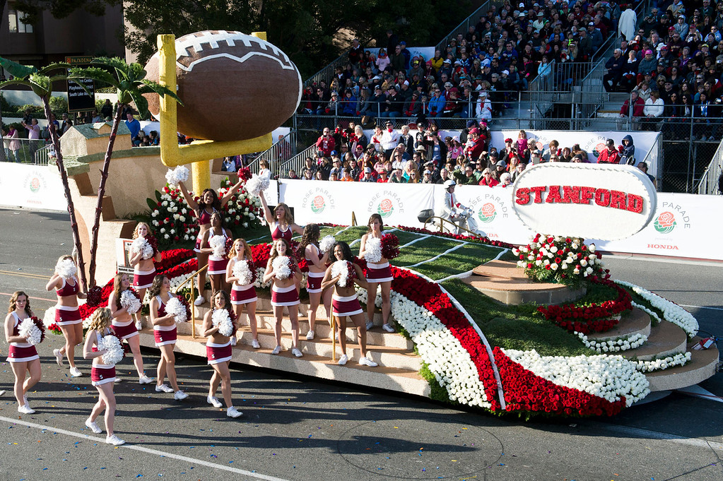 Description of . Stanford University Cardinal float during 2014 Rose Parade in Pasadena, Calif. on January 1, 2014. (Staff photo by Leo Jarzomb/ Pasadena Star-News)