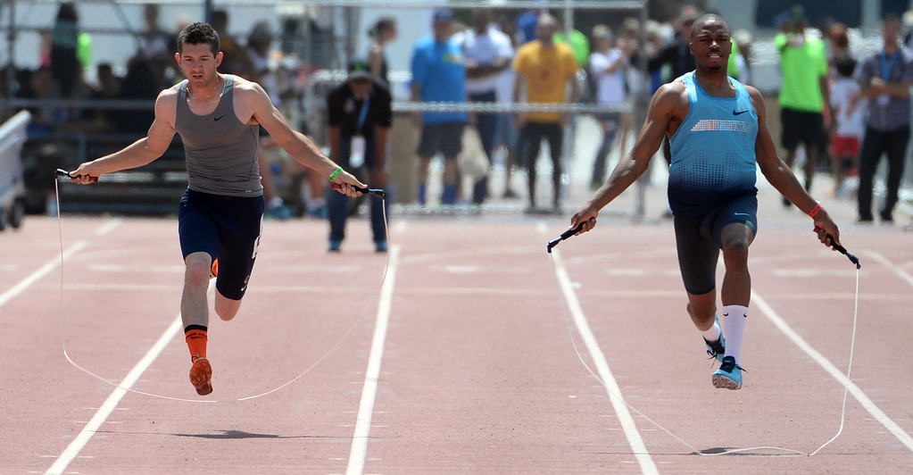 Description of . Athletes jump rope during the Mt. SAC Relays in Hilmer Lodge Stadium on the campus of Mt. San Antonio College in Walnut, Calif., on Saturday, April 19, 2014. 