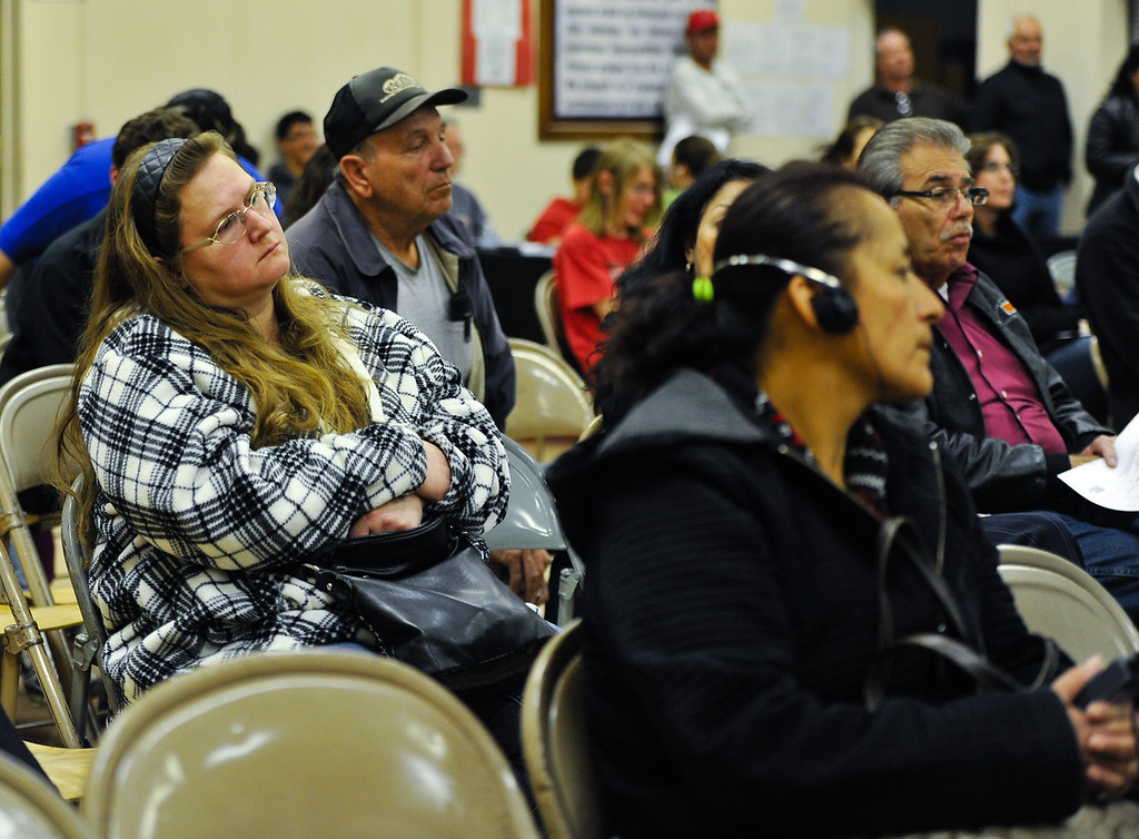 Description of . Residents attend a Community Advisory Committee meeting, which discussed closing the town's school at Hinkley Elementary/Middle School in Hinkley, Calif. on Thursday, Feb. 28, 2013. Residents are recruiting signatures for a class action lawsuit against the Barstow Unified School District in a fight to save the town's only school. (Rachel Luna / San Bernardino Sun)