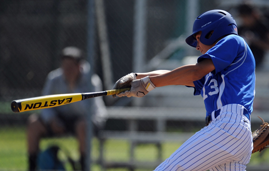 Description of . Bishop Amat's Anthony Walters doubles in the second inning of a CIF-SS Division 3 first round playoff baseball game against Santiago at Bishop Amat High School on Wednesday, May 15, 2013 in La Puente, Calif. Bishop Amat won 12-3.  (Keith Birmingham Pasadena Star-News)