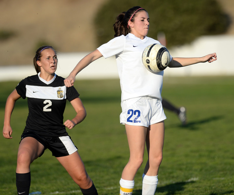 Description of . La Habra's Brooke Mays (#22) controls the ball as they play Sunny Hills in their girls soccer game at La Habra High School on Thursday January 16, 2014. Sunny Hills defeated La Habra 2-0. (Staff Photo by Keith Durflinger/San Gabriel Valley Tribune)