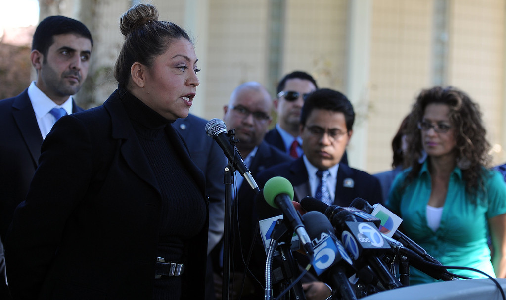 Description of . A press conference with concerned regional elected officials calling for Senator Ron Calderon to resign his position in the California State Senate in front of the Bell Gardens City Hall in Bell Gardens , Calif., on Wednesday, Nov. 13, 2013.   (Keith Birmingham Pasadena Star-News)