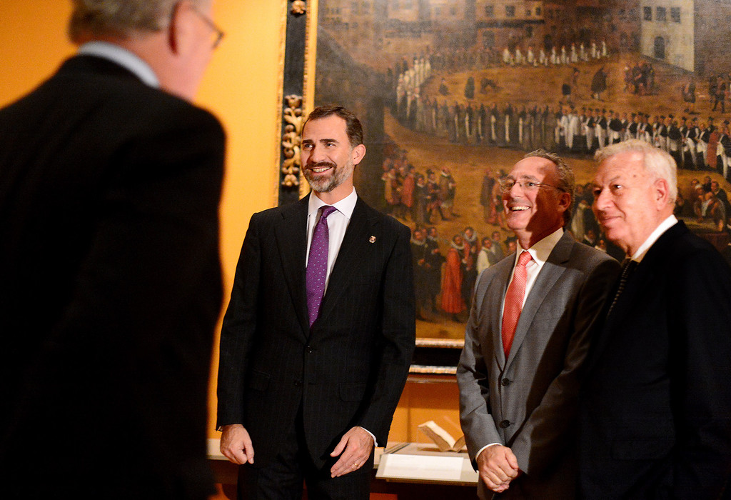 Description of . The Crown Prince Felipe of Spain, second from left, visits the Junipero Serra exhibition at The Huntington Library in San Marino Saturday night, November 16, 2013. (Photo by Sarah Reingewirtz/Pasadena Star-News)