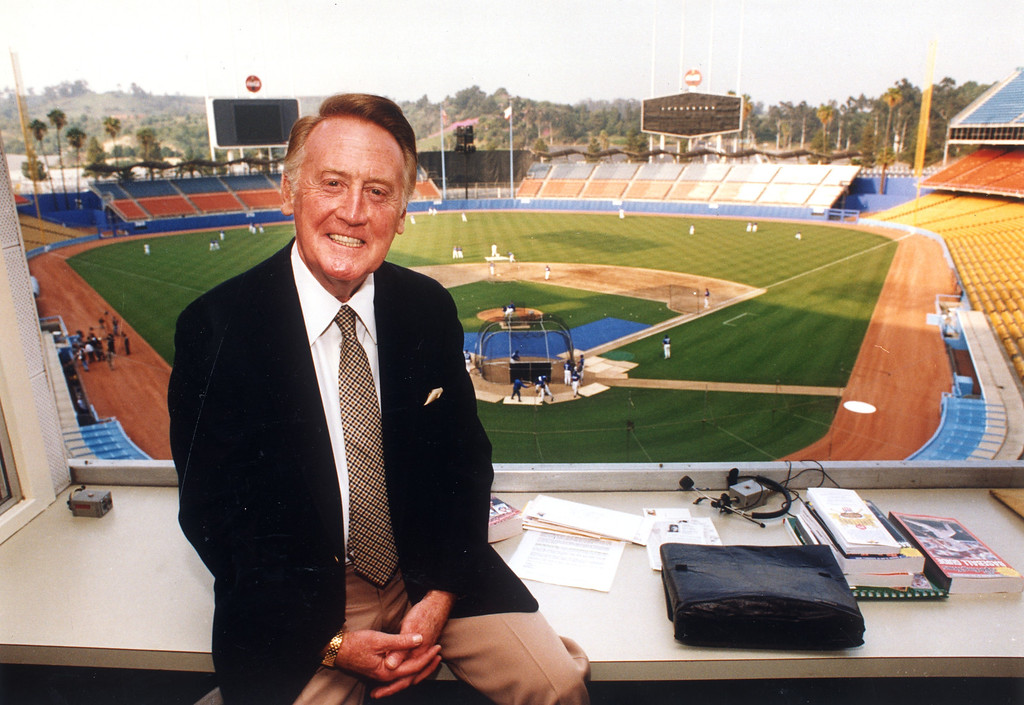 Description of . Vin Scully on Opening Day, 4/1/94.   L.A. Daily News file photo