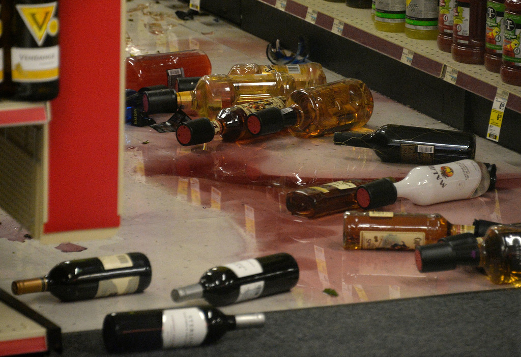Description of . A CVS pharmacy suffered major damage of glass bottles falling off onto the floor and braking after a earthquake with a magnitude of 5.1 struck near La Habra on Friday night, following an earlier 3.6 quake in the same area. The bigger quake was originally reported as magnitude 5.4 and struck at 9:09 p.m. PT. The first temblor hit about an hour before that. Caltech seismologists said the 5.1 quake was at a depth of around one mile and was followed by at least 30 aftershocks, two greater than magnitude 3.0. Fullerton, California, March 29,2013 Photo by Gene Blevins/LA Daily News