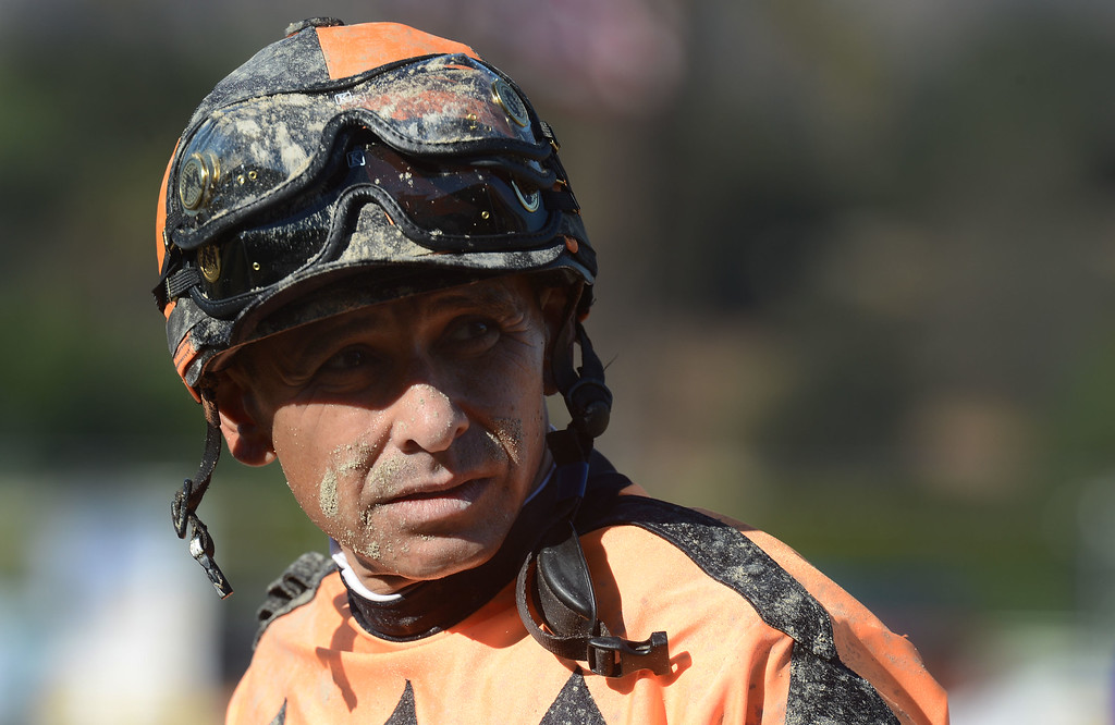 Description of . Jockey Mike Smith after the eighth race during the Breeders' Cup Juvenile eighth race during the Breeders' Cup at Santa Anita Park in Arcadia, Calif., on Saturday, Nov. 2, 2013.    (Keith Birmingham Pasadena Star-News)