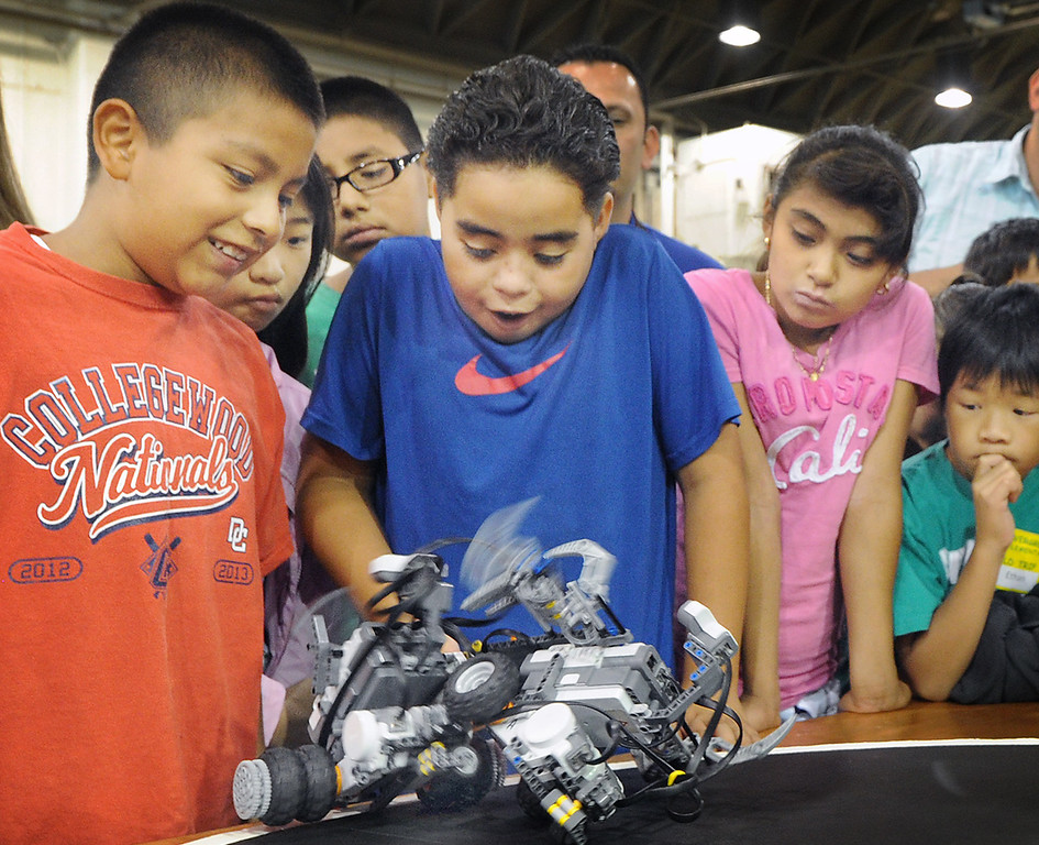 Description of . Cal Poly Pomona's Robotics Initiative invited 200 elementary and middle school students to a Robot Expo at LA Fairplex in Pomona Monday, May 20, 2013. (SGVN/Photo by Walt Mancini)
