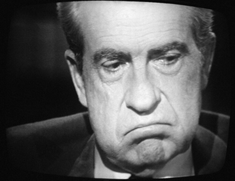 Description of . Former President Richard M. Nixon, exhibited this expression, Wednesday, May 4, 1977 of paid-for interview  with  David Frost. Nixon conceded that he let his friends, the nation, and our