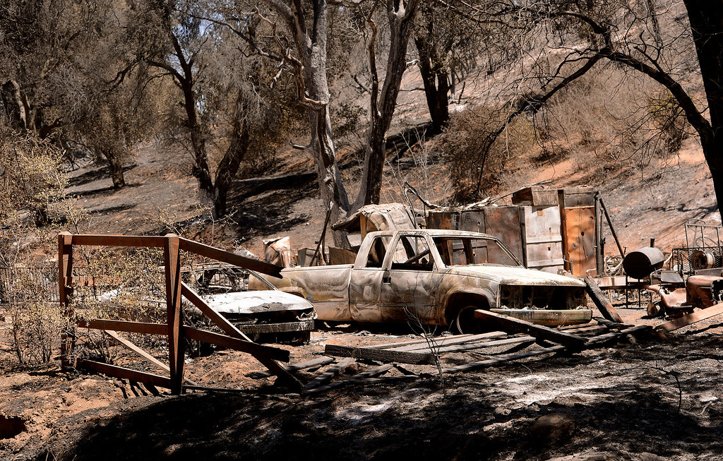 Description of . A view of residence that was burned to the ground by the Silver Fire as seen near Twin Pines Road in the mountains south of Banning August 10, 2013.   GABRIEL LUIS ACOSTA/STAFF PHOTOTGRAPHER.