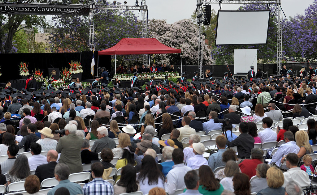 Description of . Graduate and Doctoral students prepare receive their degrees during the Commencement Ceremony at Biola University in La Mirada on Friday May 23, 2014. Kay Warren, International speaker and author, gives the commencement address. (Photo by Keith Durflinger/Whittier Daily News)