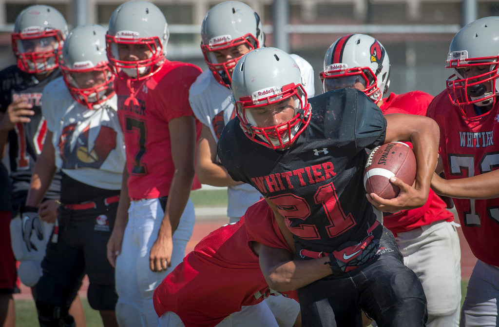 Description of . Whittier High's Anthony Figueroa during preseason football practice August 27, 2013.   (SGVN/Staff photo by Leo Jarzomb)