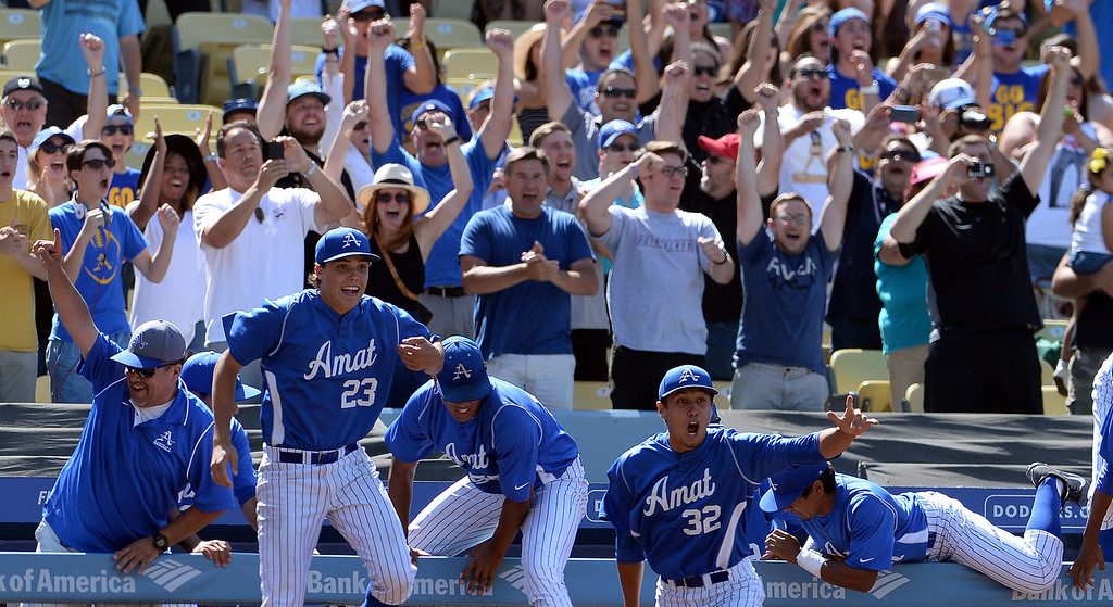 Description of . Bishop Amat leaps over the railing as they defeat Palm Desert 4-3 to win the CIF-SS Division 3 baseball championship at Dodger Stadium in Los Angeles on Friday, June 6, 2014.   (Keith Birmingham/Pasadena Star-News)