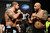 UFC fighters Brendan Schaub and Lavar Johnson during weigh-ins for UFC 157 Rousey vs Carmouche at the Honda Center in Anaheim Friday, February  22, 2013.  (Hans Gutknecht/Staff Photographer)