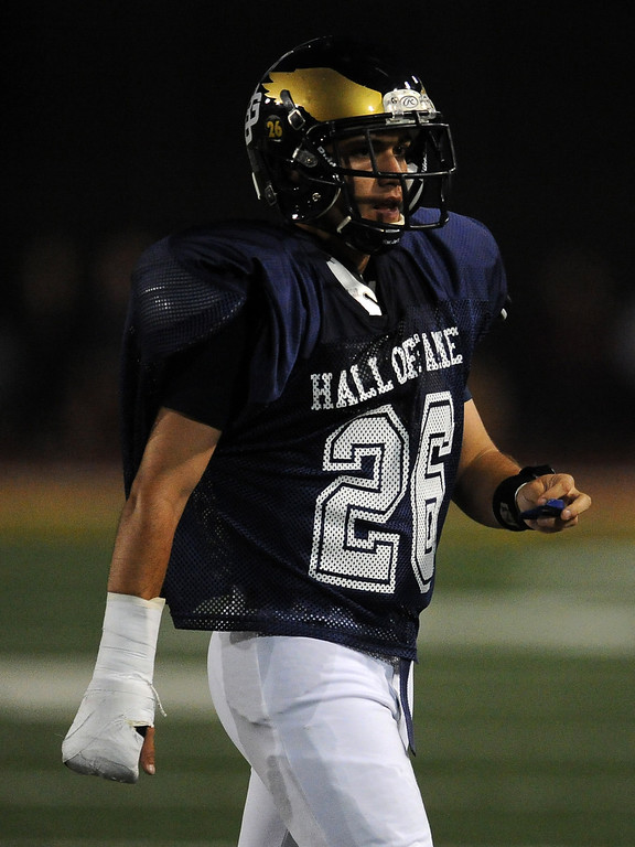 Description of . West's Pablo Ocegueda (26) (South El Monte) in the first half of the annual East vs. West San Gabriel Valley Hall of Fame all-star football game at West Covina High School on Friday, May 17, 2013 in West Covina, Calif. 
