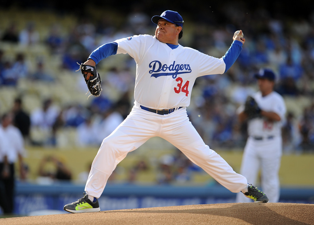 Description of . Former Los Angeles Dodgers pitcher Fernando Valenzuela during the Old-Timers game prior to a baseball game between the Atlanta Braves and the Los Angeles Dodgers on Saturday, June 8, 2013 in Los Angeles.   (Keith Birmingham/Pasadena Star-News)