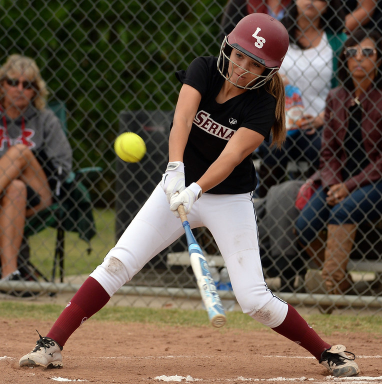 Description of . La Serna's Jamie Wren in the first inning of a prep playoff softball game against Bishop Amat at Bishop Amat High School in La Puente, Calif., on Thursday, May 22, 2014. La Serna won 6-0.   (Keith Birmingham/Pasadena Star-News)