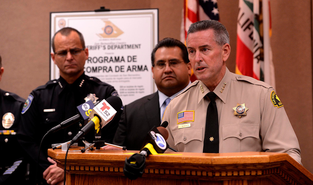 Description of . San Bernardino County Sheriff John McMahon announces the first Countywide Gun Buy Back Program May 31, 2013.   GABRIEL LUIS ACOSTA/STAFF PHOTOGRAPHER.