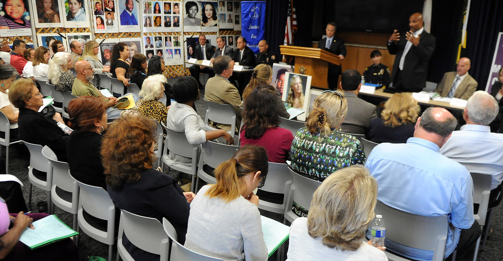 Description of . FBI's Robert Clark speaks during a Los Angeles County Sheriff's Department and Justice for Murdered Children unsolved homicide summit at the Los Angeles County Sheriff's headquarters on Saturday, July 20, 2013 in Monterey Park, Calif.  (Keith Birmingham/Pasadena Star-News)