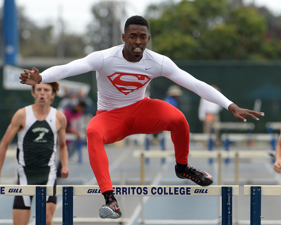 Description of . Serra's Jordan Lasley wins the division 4 300 meter Intermediate hurdles during the CIF Southern Section track and final Championships at Cerritos College in Norwalk, Calif., Saturday, May 24, 2014. 