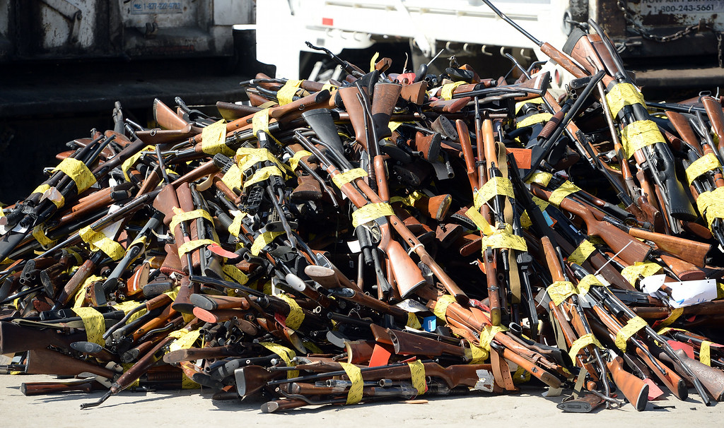 Description of . Approximately 4,700 weapons confiscated amongst 12 Los Angeles County law enforcement agencies were melted down into steel Wednesday August 13, 2014 at Gerdau Steel Mill in Rancho Cucamonga.   (Will Lester/Inland Valley Daily Bulletin)