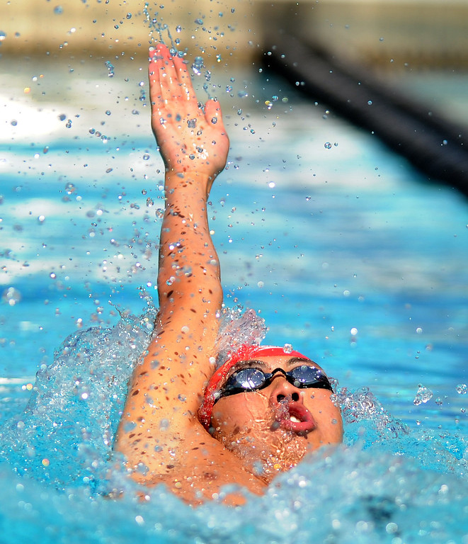 Description of . Crescenta Valley's Harrison Thai finished third in the 200 yard IM during the CIF-SS Division II swim finals at Riverside City College on Saturday, May 11, 2013 in Riverside, Calif.  (Keith Birmingham Pasadena Star-News)