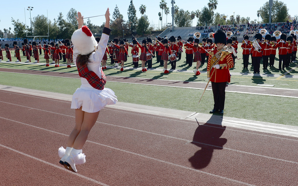 Description of . The Liberty High School Grenadier Band from Bethlehem, Pennsylvania performs during the 34th Annual Pasadena Tournament of Roses Bandfest at Pasadena City College on Monday December 30, 2013. (Staff Photo by Keith Durflinger/Pasadena Star-News)
