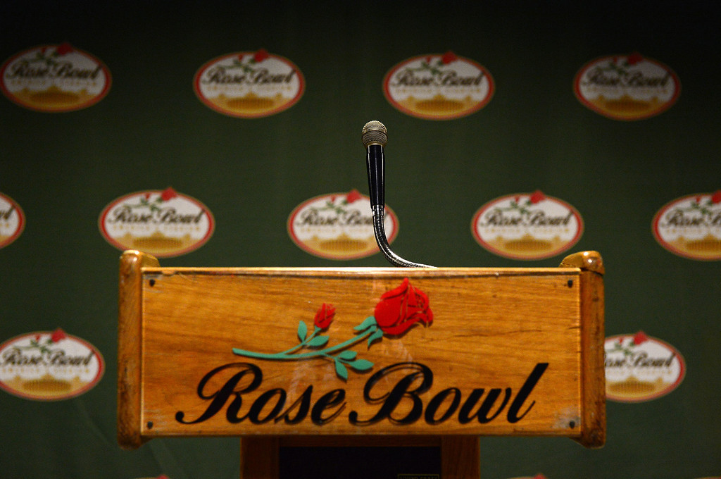 Description of . A Rose Bowl Stadium press podium is seen Thursday, June 20, 2013 in advance of the historic stadium's first public tours, which begin Saturday. The podium will be available to the public during the tours. (SGVN/Staff Photo by Sarah Reingewirtz)