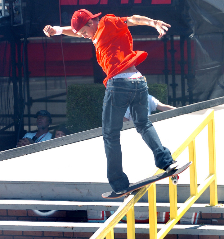 Description of . Ryan Sheckler competes in the Skateboard Men's Street Finals during the X Games at the Home Depot Center in Carson on Saturday August 1, 2009. Paul Rodriguez won the event beating out Nyjah Huston with a score of 390. (SGVN/Staff Photo by Keith Durflinger/SPORTS)