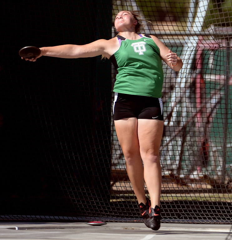 Description of . Thousand Oak's Alexa Coubal competes in the Discus during the CIF California State Track & Field Championships at Veteran's Memorial Stadium on the campus of Buchanan High School in Clovis, Calif., on Saturday, June 7, 2014.   (Keith Birmingham/Pasadena Star-News)