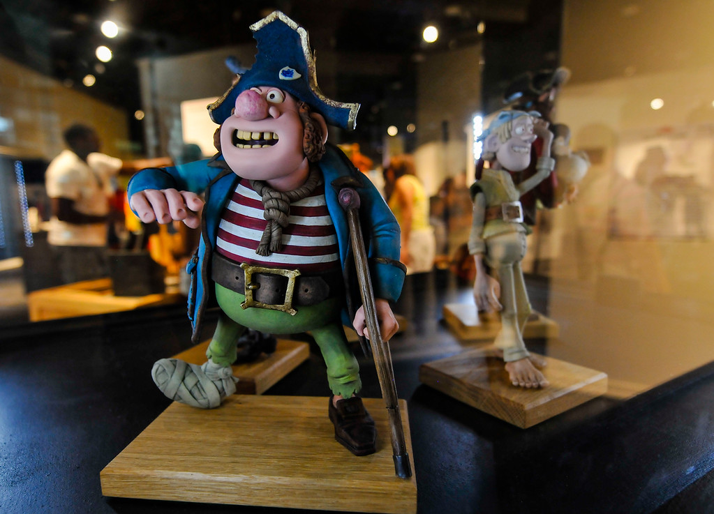 Description of . The Pirates! claymation figures are displayed in the Pencils 2 Pixels: The Art of Animation exhibit at the 91st annual Los Angeles County Fair in Pomona on Sept. 2, 2013. The fair will run through September 29. (Rachel Luna / San Bernardino Sun)