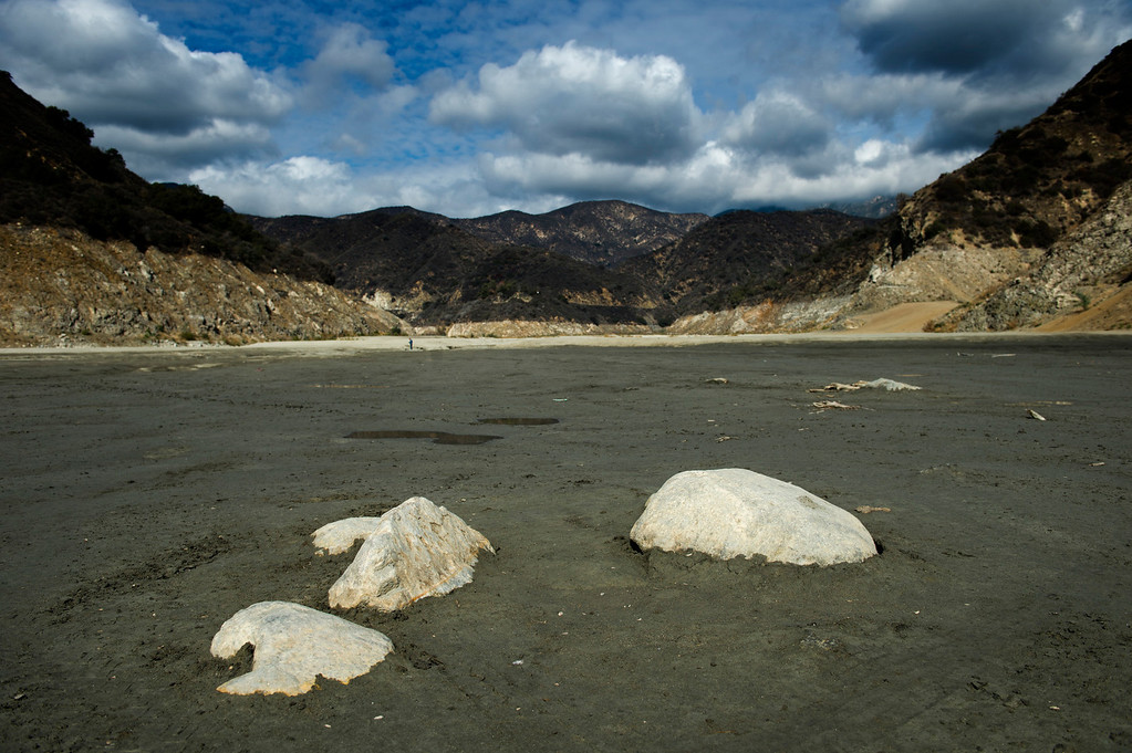 Description of . The lack of rainfall exposes the rocks and mud in the river bottom of San Gabriel Reservoir in the Angeles National Forest on Friday, Feb. 7, 2014. (Photo by Watchara Phomicinda/ San Gabriel Valley Tribune)