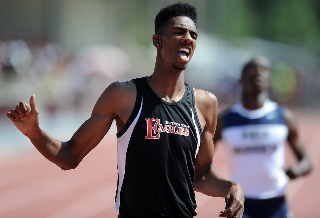 Description of . Etiwanda's Miles Parish in the 400 meters race during the CIF-SS track & Field championship finals in Hilmer Stadium on the campus of Mt. San Antonio College on Saturday, May 18, 2013 in Walnut, Calif.  (Keith Birmingham Pasadena Star-News)