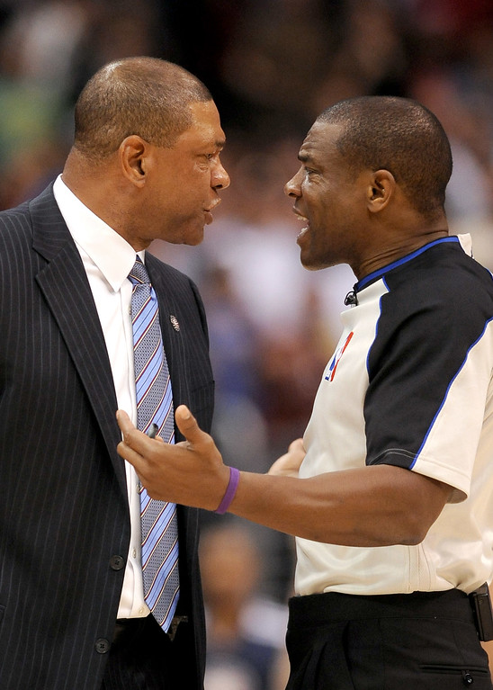 Description of . Los Angeles Clippers' Head Coach Doc Rivers argues with an official late in the game against the Minnesota Timberwolves Monday, Nov. 11, 2013, in Los Angeles.  The Clippers won the game 109-107.(Andy Holzman/Los Angeles Daily News)