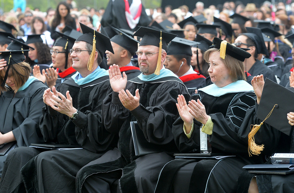 Description of . Graduate and Doctoral students receive their degrees during the Commencement Ceremony at Biola University in La Mirada on Friday May 23, 2014. Kay Warren, International speaker and author, gives the commencement address. (Photo by Keith Durflinger/Whittier Daily News)