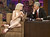 Rocker Courtney Love talks with host Jay Leno while making her first appearance on