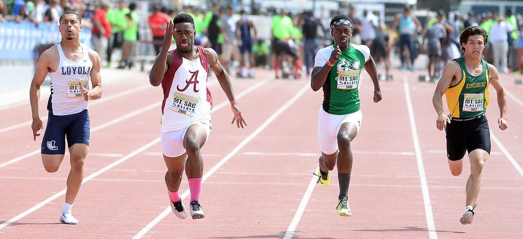 Description of . Invitational during the Mt. SAC Relays in Hilmer Lodge Stadium on the campus of Mt. San Antonio College in Walnut, Calif., on Saturday, April 19, 2014. 