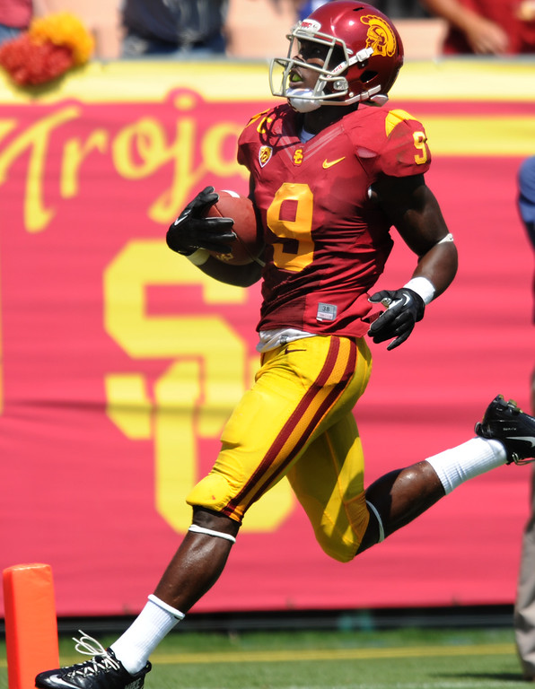 Description of . USC Marqise Lee crosses the end zone on an 80 hard reception in the 2nd quarter. USC Plays Boston College at the Coliseum in Los Angeles, CA. 9/14/2013. photo by (John McCoy/Los Angeles Daily News)